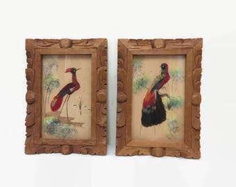 Feather Bird Picture, Set of Two, Carved Wooden Frame, Mexican Folk Art, Red & Black