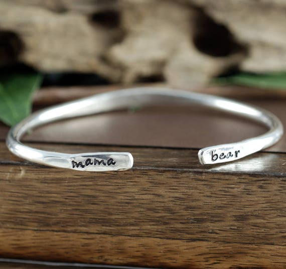 Mama Bear Cuff Bracelet, Custom Cuff Bracelets, Personalized Mama Bear Jewelry, Mother Bracelet, Mama Bear Jewelry, Gift for Mom