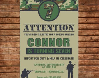 Boy Camo Soldier Camping Army Hunting Tank Clipart Birthday Party #2 Invitation - DIGITAL FILE
