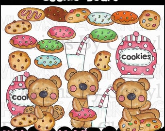 Cookie Bears Clipart Collection- Immediate Download