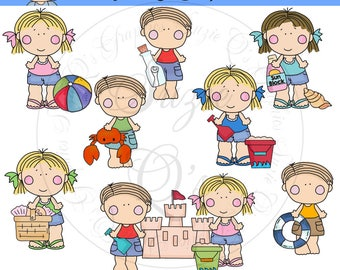 Babs and Bob at the Beach EXCLUSIVE Clipart Collection - Immediate Download