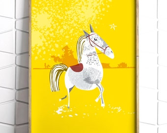 Yellow Horse Illustrated Art Print - Illustration - Home Decoration - Wall Art