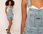 Jean Overall Shorts 90s Denim Shorts Grunge Bib Shortalls Romper Playsuit Suspender Blue Woman 1990s Vintage small