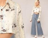 Floral Blouse 70s Boho Crop Top Button Up Shirt Bohemian  1970s Vintage Boho Hippie Romantic Beige Long Sleeve Medium Large