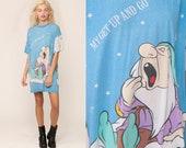 Disney Pajama Dress SEVEN DWARFS Night Shirt Sleep Dress Cartoon Tshirt 90s Mini PJs Hipster Vintage Small Medium Extra Large xl xxl