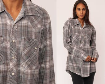 Pearl Snap Shirt 90s Plaid Flannel Shirt Grunge Grey Western Oversize Button Down up Vintage Long Sleeve Hipster large
