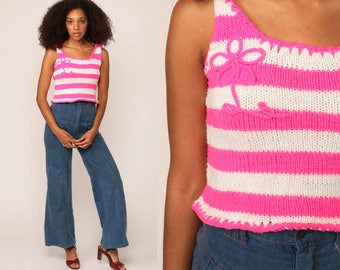 Knit Tank Top Striped Shirt 70s Hot Pink White Sleeveless Sweater Top Floral Stripe Retro Boho Summer 1970s Vintage Extra Small xs