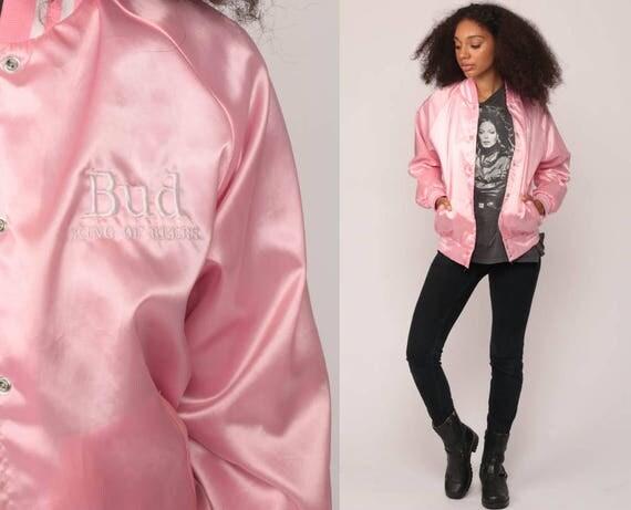 Budweiser Jacket Pink Satin Jacket Bomber Beer Jacket 80s