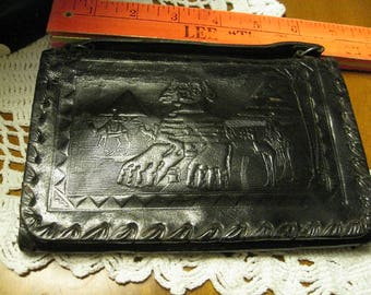 Egyptian Wallet With Handle VTG Black Tooled Leather As Found With Sphinx Pyramids of Giza and Mohamed-Ali Mosque Cairo Whip Stitch Edge KJD
