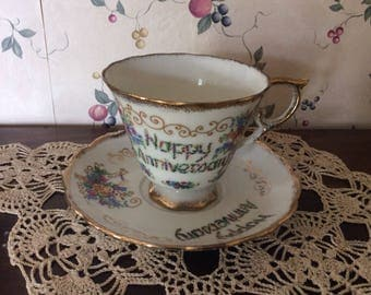 Happy Anniversary Teacup and Saucer, Both Have Original Sticker