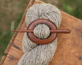Mahogany Shawl Pin - Handmade Wooden Shawl Pin -Wood Shawl Pin- Eco Knitting Supplies