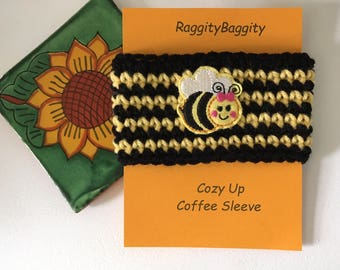 Coffee Cup Cozy in Yellow and Black with a Bumblebee Feltie