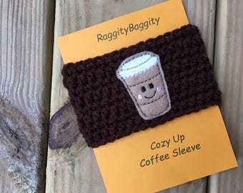 Coffee Cup Cozy in Brown With a Smiling Take Away Cup Feltie - Coffee Lover Sleeve - Smiling Coffee Cup - Cappuccino - Coffee - Coffee Cozy