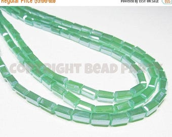 """20% OFF 7.5"""" Glass STRAND - Glass Crystal Beads - 4x8mm Rectangle Tubes - Pearlized Translucent sea Green (7.5 inch strand - 24 beads) - str"""