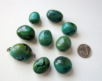 Large Turquoise Smooth Nuggets Beads or Focals