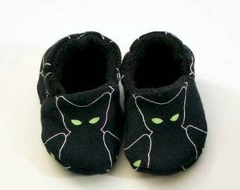 Spooky Black Cat Halloween Baby Moccasins, Baby Shoes, Baby Slippers