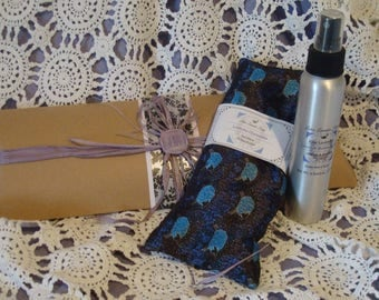 Free Gift Box with  Lavender Eye Pillow and Large Lavender Linen Spray, Yoga Eye Pillow, Meditation Pillow, Silky Eye Pillow, Aromatherapy