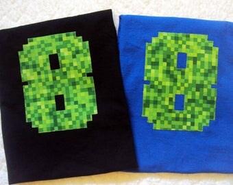 Minecraft Inspired Birthday Shirt - Boys Birthday Shirt- Eight Year Old Birthday Shirt- 7 Year Old shirt- 8 Year Old Birthday Shirt- 9 Year
