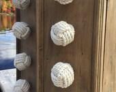 4 Rope Knobs, 4 Cotton Drawer Pulls, Knot Drawer Pulls, Cream Drawer Pulls, Rope Knobs, Nautical Decor, Nautical Nursery, Nautical Bathroom