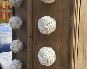 Nautical Decor - 4  Cotton Drawer Pulls - Knot Drawer Pulls - Cream Drawer Pulls - Rope Knobs