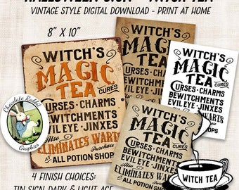 Halloween Witch Tea Printable Sign, Vintage Digital Download, Potion Label, Halloween Clipart, Witch Sign, Image Transfer, Wall Art
