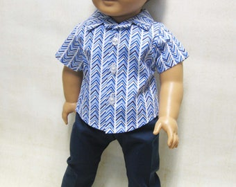 """Blue Chevron Sport Shirt with Navy Pants for Logan and other 18"""" Boy Dolls"""