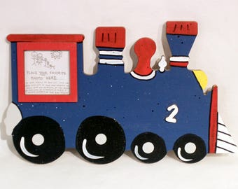 Train Picture Frame - Hand Painted Wooden Frame