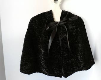 Luxurious Textured Black Toddler Minky Hooded Capelet -15 Inch Length