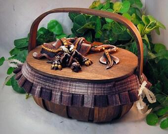 Ooak Polymer Clay Brown Sad Little Dragon on Basket Purse / Box #02 Fashion Accessories  Fantasy Home Decor Storage
