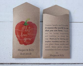 Red Pepper Personalized Seed Wedding Favor – Let Love Grow – Custom Seed Packet – Seed Envelope Wedding Favors – Many Colors Available