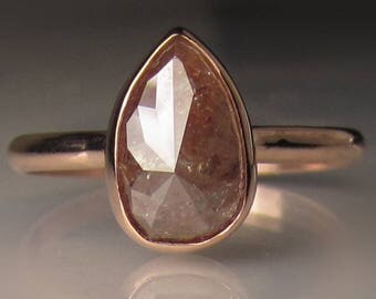 Rose Cut Diamond Engagement Ring in 14k Rose Gold