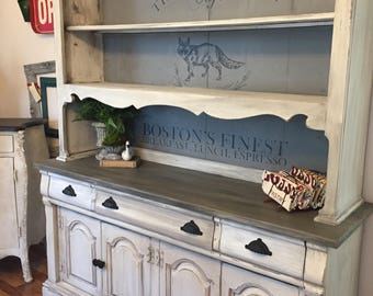 Painted Vintage 2 Piece Hutch and Buffet