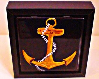 Anchor decor | Anchor paintings | Nautical anchor decor | decorative ceramic tile decor | anchor wall art | hand painted anchors | anchors
