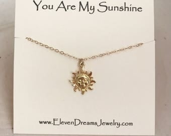 "CHILDREN'S and Adult ""You Are My Sunshine"" Gold Carded Necklace. ( Little girl ("