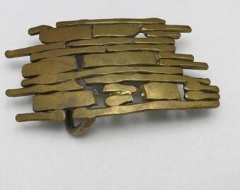 Brutalist Belt buckle Bronze Hand made One of a Kind