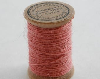 25% Off Summer Sale Burlap Twine - 30 Yards on Wooden Spool - Blossom Pink Color Jute