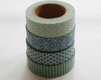 25% Off Summer Sale Washi Tape Set - 15mm - Combination BY - Sage and Steel Blue Patterns - Four Rolls Washi Tape No. 106, 124, 179 and 338