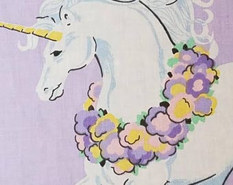 Vintage Unicorn Fabric with Heart Applaqui