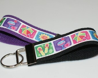 Beach Theme Keychain Wristlet/Keyfob Available in two sizes