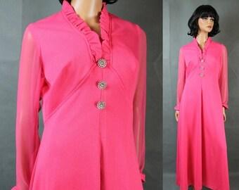 ON SALE Vintage Chiffon Sleeve Disco Dress M L Neon Hot Pink Long Empire Waist Costume Free Us Shipping
