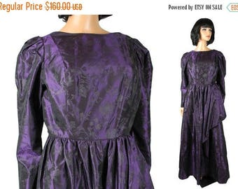 ON SALE 80s Prom Dress Sz L Long Sleeve Dark Purple Taffeta Floral Brocade Ball Gown Free Us Shipping