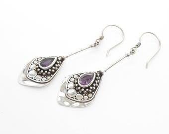 Dazzling Silver 925 Amethyst gemstone dangle Earrings / silver 925 / Bali jewelry / 2 inches / handwork earrings