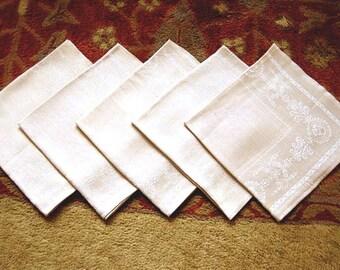 DAMASK Napkins for Tablecloth Replacement Set Vintage COTTON Blend SET 5 Lg Tan