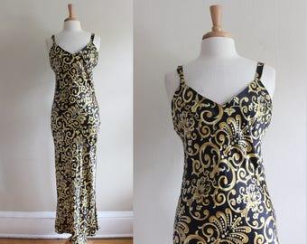 Vintage 1990s Baroque Black & Gold Silk Slip Dress