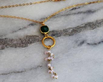 Vibrant Green Onyx Bezel with a Pink Chalcedony and Brushed Gold Charm