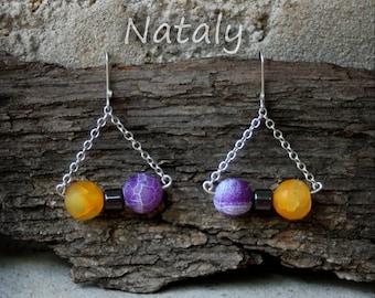 Beauty-Gift, Bar Earrings, Yellow & Purple Chain Earrings, Sterling Silver Earrings, Everyday Earrings, Dangle Earrings, Gift Wife Earrings