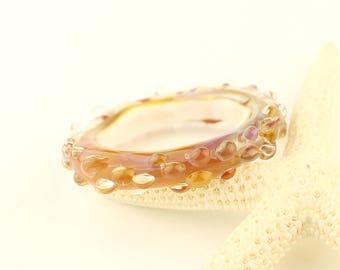Lampwork Glass Bead Slider Focal Rings Pink Blue Beads Links Spacers SRA