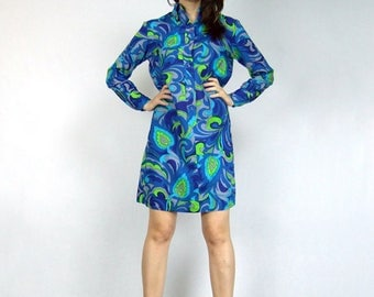 60s Mod Dress Psychedelic Blue Green Shirt Dress Womens Vintage Clothing 1960s Long Sleeve Retro Dress - Medium to Large M L