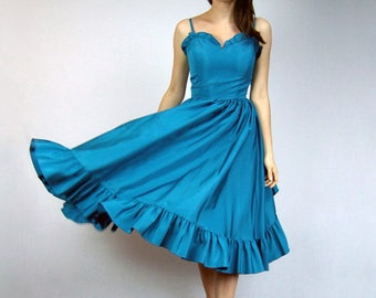 Teal Dress Sweetheart Neckline 1970s Full Skirt Party Dress Blue Green 70s Prom Dress Women Vintage Clothing - Extra Small XXS XS