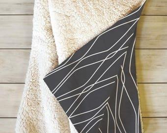Modern Black Throw Blanket // Fleece Sherpa // Dorm Decor // Modern Geometric // Fuge Slate Design // Cozy Blanket // Black // Minimalist